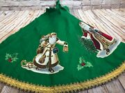 Vtg 70and039s Christmas Tree Skirt Table Topper Santa Patchwork Green Felt Sz Lg/53and039and039