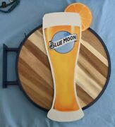 Blue Moon Wall Sign Beer Bar Wood Double Sided