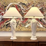 Monumental Pair Of Plaster Draped Lamps In The Style Of John Dickinson