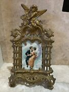 Vintage Neoclassical Cast Iron Picture Frame Cupid Valentines Day Card