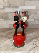 Vintage Wooden Thumb Dancing Push Puppet Ladybugs Rare Find
