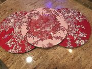 3 Vintage Asian Red White Wall Plates Plaques Decor 13 Lacquer Ware Peafowl