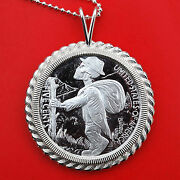 1936 Hobo Nickel 1 Oz .999 Fine Silver Coin Sterling Necklace - Skulls And Scrolls