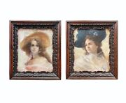 Pair Of 19th C. French Pastel Portrait Of Beautiful Young Women With Carved Wood