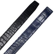 Replacement Belt No Buckle Crocodile Leather Double Side No Jointed Blue/black