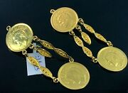 22k Earrings Solid Gold Ladies Classic Coin Shape Design E2113