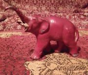 Vintage British Elephant Red Lead Toy Zoo Hollow Cast Figurine