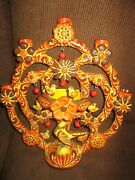 Vtg. Large Handmade Mexican Tree Of Life, Candelabra, Incense Bowl, 16 T And 13w