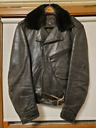 Vintage 1940and039s-1950and039s Buco Horsehide Leather Motorcycle Riding Jacket Size 42