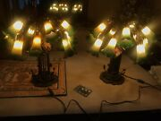 Pair Of Dale 15 Arm Green/yellow Glass Shades Lily Pad Table Lamp-w/tags