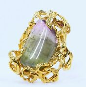 Arthur King Watermelon Tourmaline Brooch In Abstract Free Form 18k Gold
