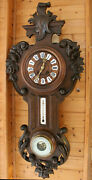 Japy Freres Wall Clock Black Forest Woodcraft With Thermometer And Barometer