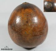 Antique American / Hawaii Sailor Scrimshaw Ship Carved Gourd 19th Century