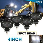 4x 4and039and039 Led Head Lamp For Caterpillar Skid Steers Excavator Forklift Light Loader