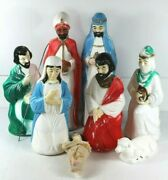 Vintage Blow Mold Nativity Set Small 8 Piece 17 22 Christmas Table Top Rare