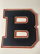 Vintage Varsity Letter Letterman Patch B Black White And Red 7.5andrdquox8.5andrdquo Large