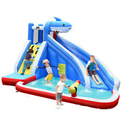 Inflatable Water Slide Shark Bounce House Splash Water Pool Without Blower