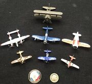 Lot Of 7 Metal Toy Planes Tootsietoy, Zylmex Dyna Flites And Pencil Sharpener+++++