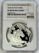 2014 Silver Canada 15 Scallop Lunar Year Of The Horse 1 Oz Proof Ngc Pf 68 Uc