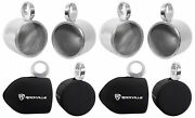 Pair Rockville Mac80s 7.7andrdquo Silver Aluminum Wakeboard Tower Speaker Pods+covers