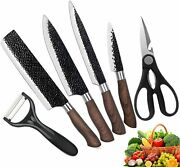 Kitchen Chef Knives Set With Wood Grain Handle 6 Pieces Stainless Black1