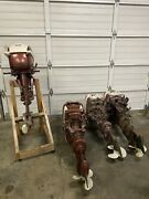 Lot Of Four Vintage 35 Hp Johnson Outboard Boat Motor And 1 Evinrude 40 Hp