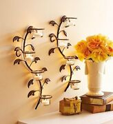 Iron Wall Sconces With 8 Glass Cup Candle Holders And Tealight Candlesset Of 2