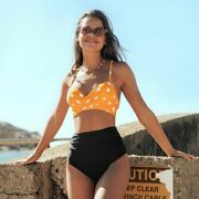 High Waisted Bikini Set Swimsuit Polka Dot Lace Up Two Pieces Push Up Top Bather