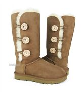 Ugg Bailey Button Triplet Ii Chestnut Fur Boots Womens Size 7 New