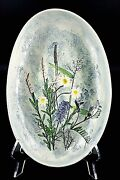Lg Salt Marsh Pottery Plate Hand Made Pressed Flowers S. Dartmouth Ma Signed