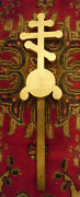 Antique Carved Wood Architectural Salvage Orthodox Church Cross Finial 24h