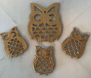Vintage Retro Cast Iron Trivets 60/70's Kitchen Decor Mom And 3 Baby Owl Hot Pads