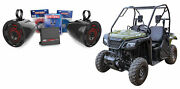 2 6.5 Roll Bar Tower Led Speakers+2-channel Amplifier+wiring For Honda Pioneer
