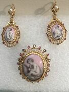 Antique Hand Painted Cherub Porcelain Earrings And Brooch French