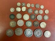Mixed Lot Silver Foreign Coins Some Better Types 200 Grams 29 Total