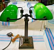 Double Partnership Desk Lamp W/green Cased Glass Shades Rewired  2160