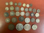 Mixed Lot Silver Foreign Coins Some Better Types 200 Grams Green 32