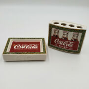Coca Cola 5c Red Green Logo Bathroom Set Of 2 Soap Dish And Toothbrush Holder