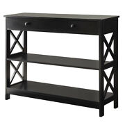 Convenience Concepts Oxford Console Table With 2 Open Shelves Black Open Box