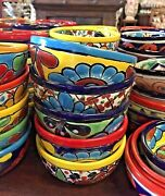 Talavera Mexican Pottery 5-6 Bowls Set Of 2 H Free Freight
