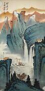 Vintage Chinese Watercolor Landscape Wall Hanging Scroll Painting - Zhang Daqian