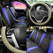 Black Blue Leatherette Seat Cushion Full Set Covers W/ Beige Steering Cover