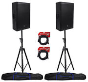 2 Mackie Srm650 1600w 15 Active Pa Speakers+stands+audio Technica Atm410 Mic