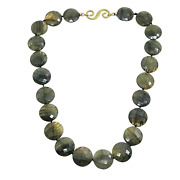 Splendid 18k Yellow Gold S Clasp Faceted Labradorite Coin Bead Necklace 17