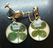 Vintage Coro 4 Leaf Lucky Clover Clip On Earring Signed Costume Jewelry As1