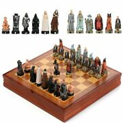 Chess Set Luxury Movie Figurines Dolls Chessman Game Wooden Board Cosplay Toys