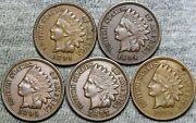 1891 1894 1895 1897 1909 Indian Cent Penny ---- Nice Lot ---- L115