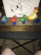 Vtg 1940 Fisher Price Wooden Ducks Pull Toy Mama Duck And 3 Babies Quacky Family