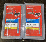 2 Redhead 12370 Boxes 50 3/8 X 3 3/4 Metal Wedge Anchors Concrete Use