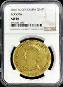 1846 Rs Gold Colombia Republic 16 Pesos Bogota Mint Ngc About Uncirculated 50